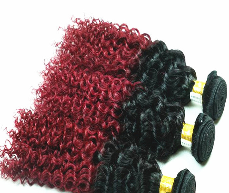 18 Black Burgundy Ombre Weave Curly Wave Weft Remy Human Hair