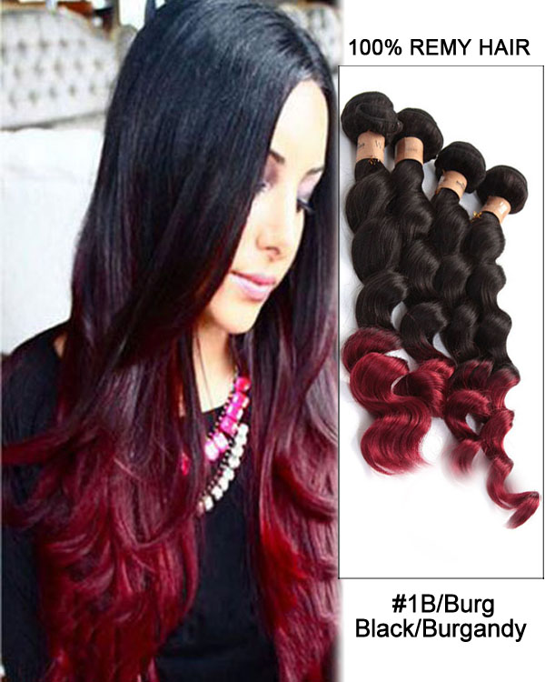 24 Loose Wave 99j Dark Plum Red Remy Hair Weave Weft Human Hair