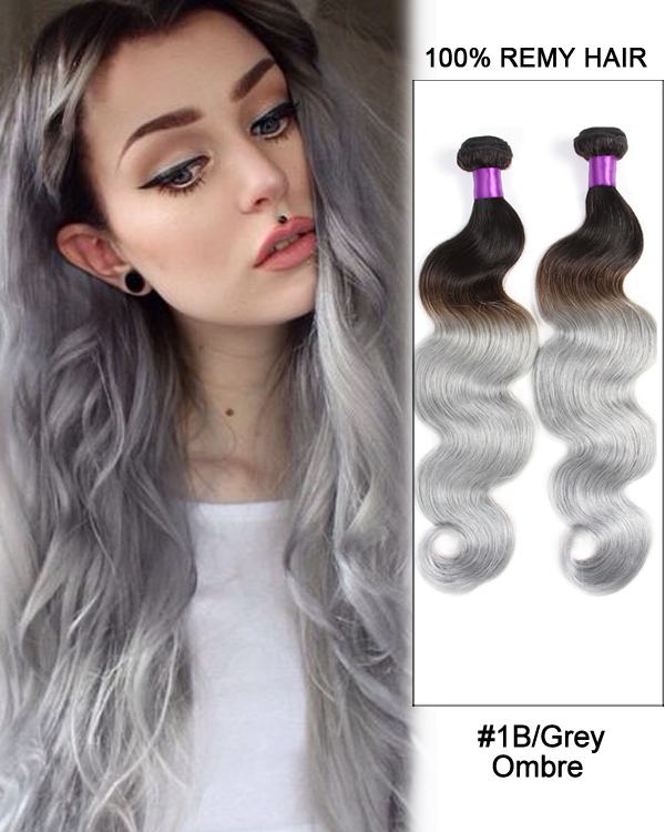 "18""Black Granny Grey Ombre Weave Body Wave Weft Remy Human Hair Extensions"