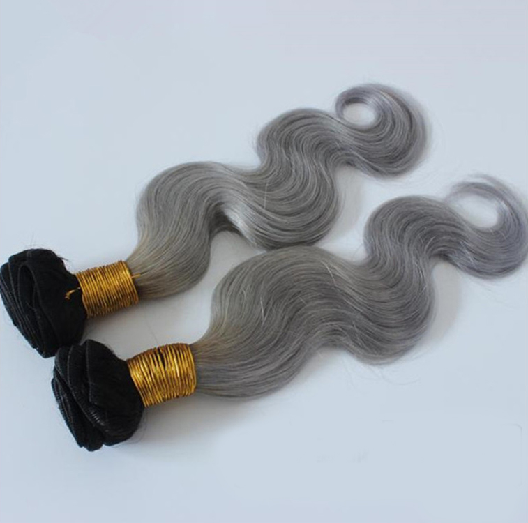 "16"" Black Grey Ombre Weave Body Wave Weft Remy Human Hair Extensions"