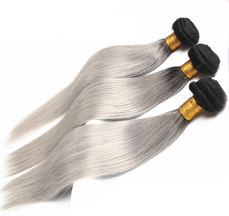 "16"" Black Grey Ombre Weave Straight Weft Remy Human Hair Extensions"