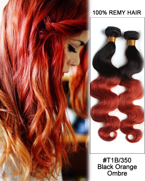 "16"" #T1B/350 Black Orange Ombre Sunset Hair Body Wave Hair Bundles Remy Human Hair Extensions"