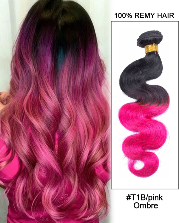 "16"" #T1B/Pink Black Pink Ombre Hair Body Wave Hair Bundles Remy Human Hair Extensions"