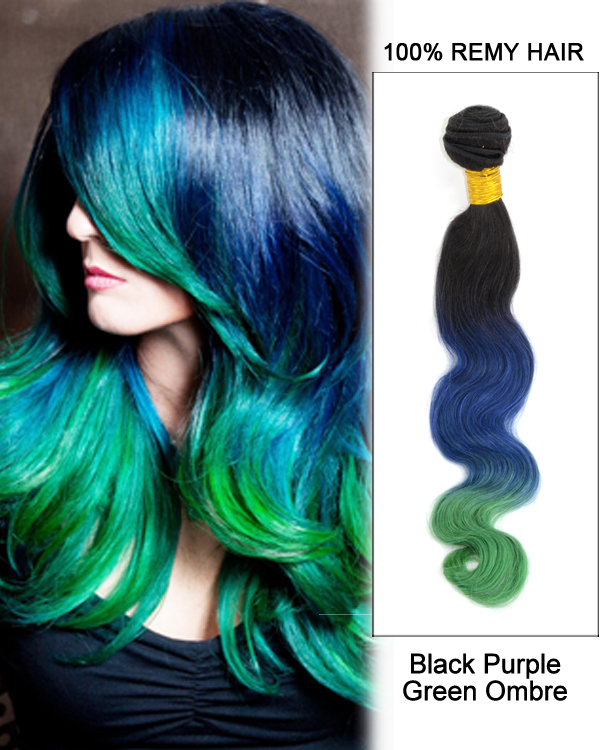 "14"" Black Purple Green Ombre Hair Three Tones Hair Weave Body Wave Weft Remy Human Hair Extensions"