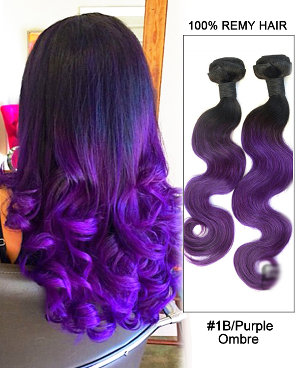 "18"" Black Purple Ombre Weave Body Wave Weft Remy Human Hair Extensions"
