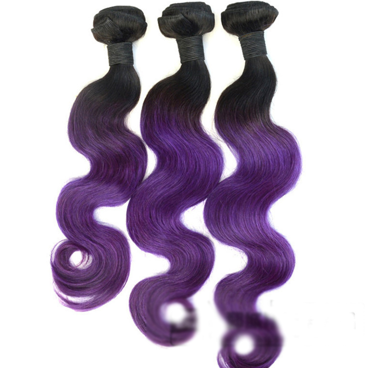 18 Black Purple Ombre Weave Body Wave Weft Remy Human Hair Extensions