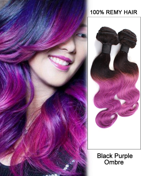 "14"" Black Purple Ombre Hair Two Tones Hair Weave Body Wave Weft Remy Human Hair Extensions"