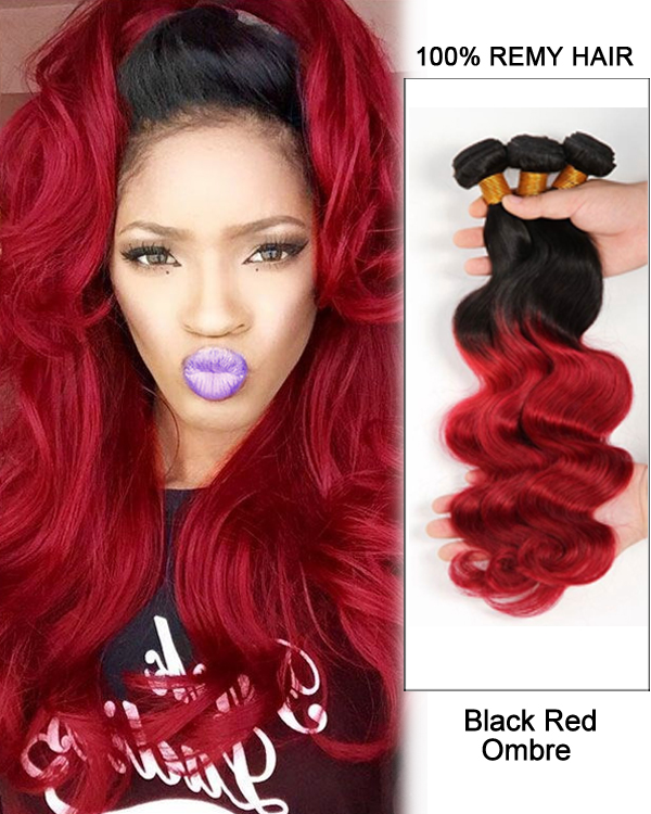 "14"" Black Red Ombre Hair Two Tones Hair Weave Body Wave Weft Remy Human Hair Extensions"