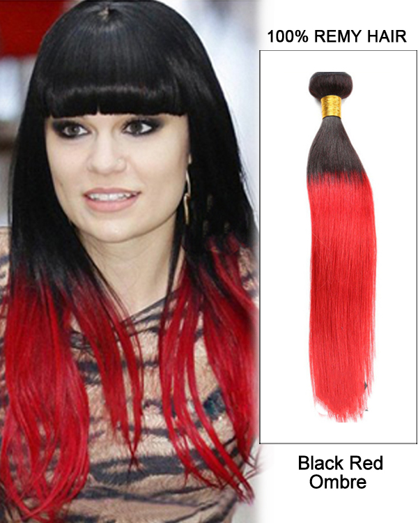 "14"" Black Red Ombre Hair Two Tones Hair Weave Straight Weft Remy Human Hair Extensions"