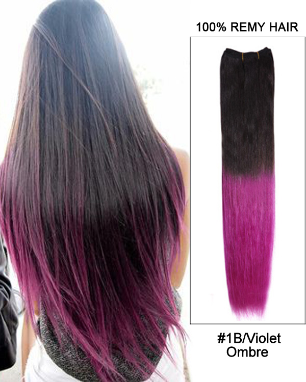 "22"" #1B/Violet Ombre Straight Weave Remy Human Hair Extensions"