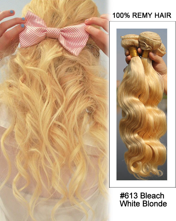 16 613 Bleach White Blonde Hair Body Wave Hair Bundles Remy Human