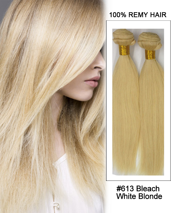"16"" #613 Bleach White Blonde Hair Straight Hair Bundles Remy Human Hair Extensions"