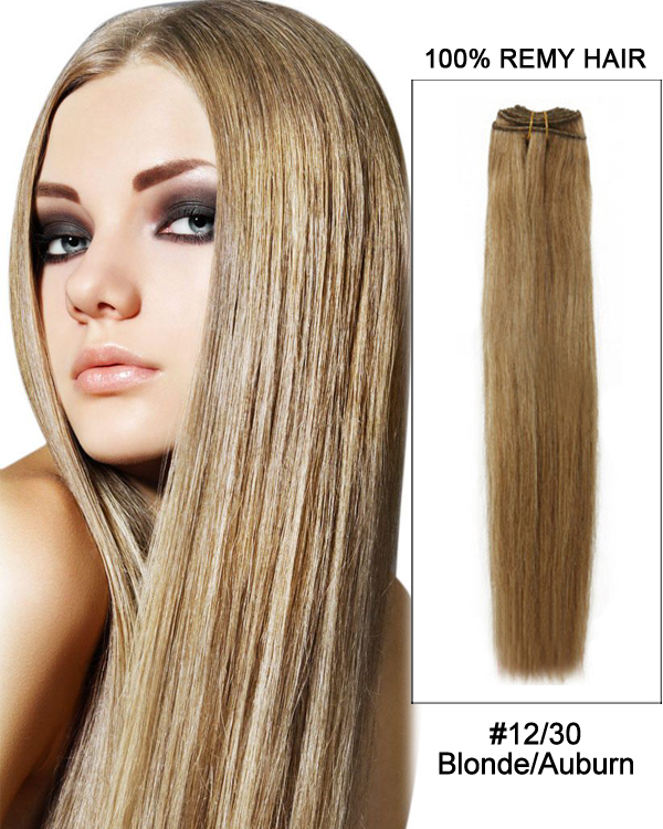 20 1230 Golden Brownauburn Straight Weave Remy Hair Weft Human