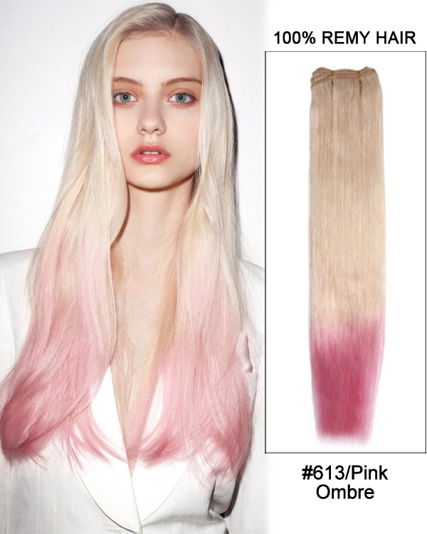 "22"" #613/Pink Ombre Straight Weave Remy Hair Weft Hair Extensions"