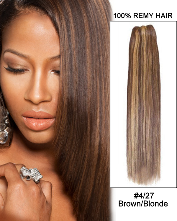 "16"" #4/27 Brown/Blonde Straight Weave 100% Remy Hair Weft Human Hair Extensions"