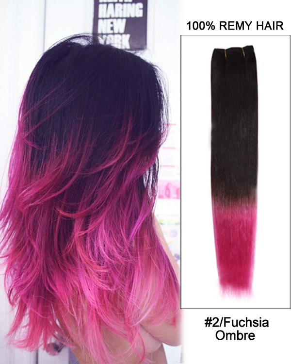 16 2fuchsia Ombre Straight Weave 100 Remy Hair Weft Hair Extensions