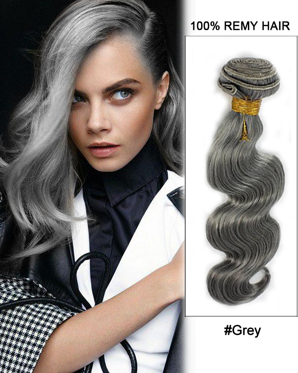 18dark Grey Weave Body Wave Weft Remy Human Hair Extensions