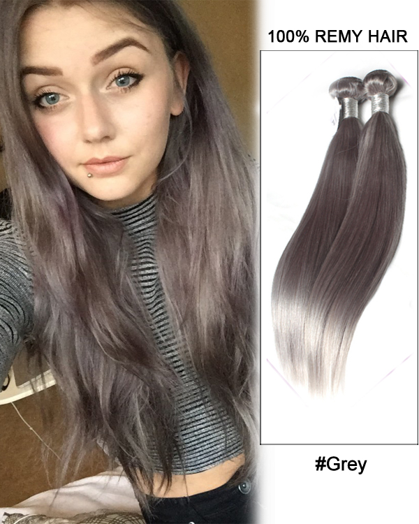 "18""Dark Grey Weave Straight Weft Remy Human Hair Extensions"