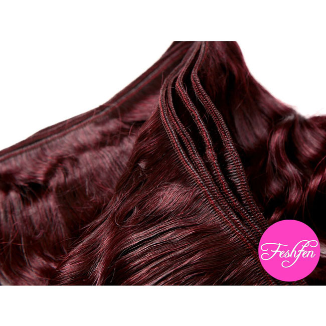 "24"" Loose Wave #99J Dark Plum Red Remy Hair Weave Weft Human Hair Extension"