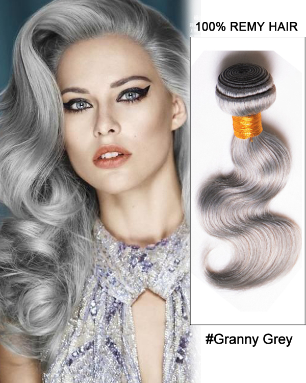 "18"" Granny Grey Weave Body Wave Weft Remy Human Hair Extensions"
