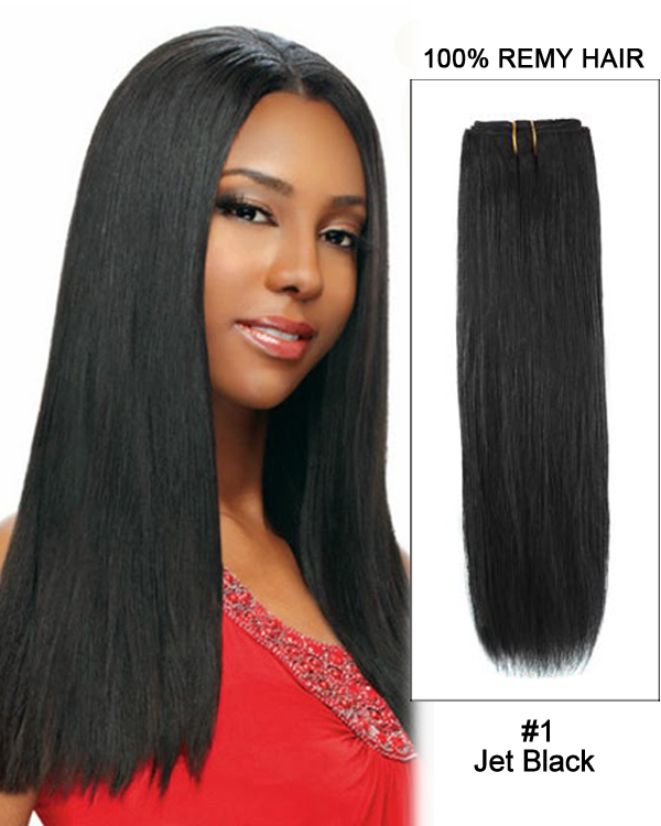 "14""#1 Jet Black Straight Weave 100% Remy Hair Weft Hair Extensions"