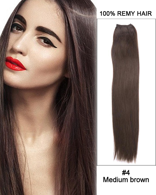 "22"" Silky Straight Brazilian Remy Hair Weave Weft Human Hair Extension-#4 Medium Brown"