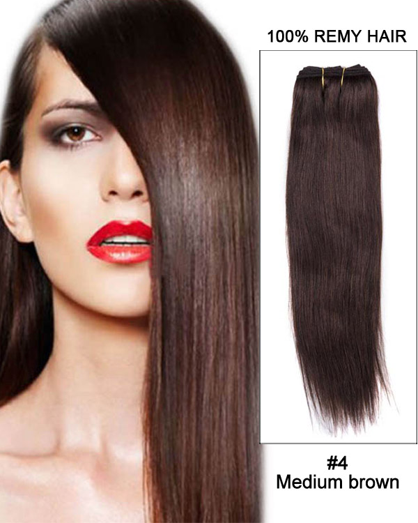 "20"" Yaki Straight Brazilian Remy Hair Weave Weft Human Hair Extension-#4 Medium Brown"