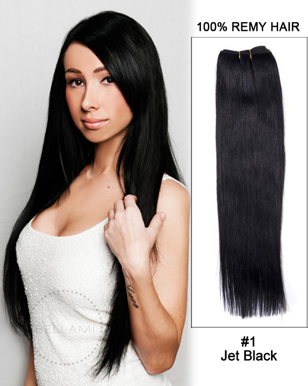 "18"" Yaki Straight Brazilian Remy Hair Weave Weft Human Hair Extension-#1 Jet Black"