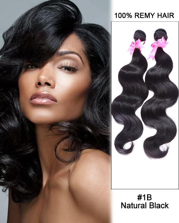 "FESHFEN 14"" #1B Natural Black Body Wave Weave Malaysian Virgin Hair Human Hair Extensions"