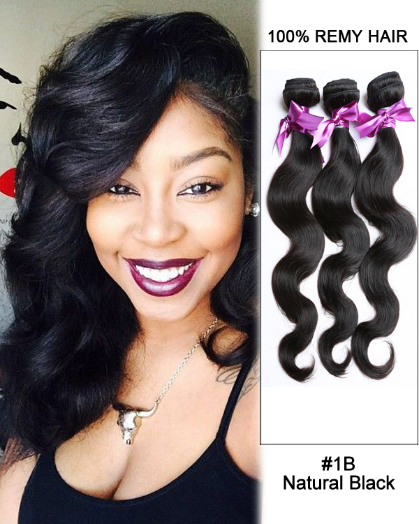 "FESHFEN 16"" #1B Natural Black Body Wave Weave Malaysian Virgin Hair Human Hair Extensions"