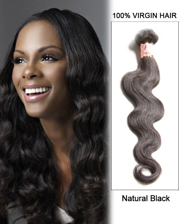 "18"" Natural Black Body Wave Brazilian Virgin Hair Weave Weft Human Hair Extensions"