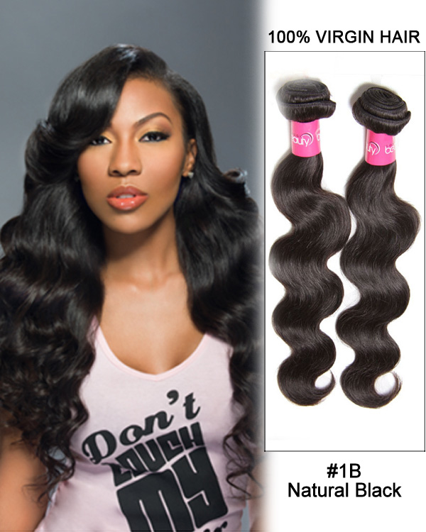 Natural Black Body Wave 3 Bundles Brazilian Virgin Hair Weave Human Hair Extensions
