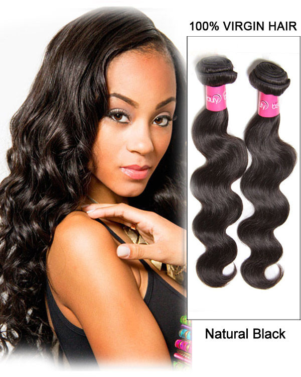 "20"" Natural Black Body Wave Peruvian Virgin Hair Weave Weft Human Hair Extensions"