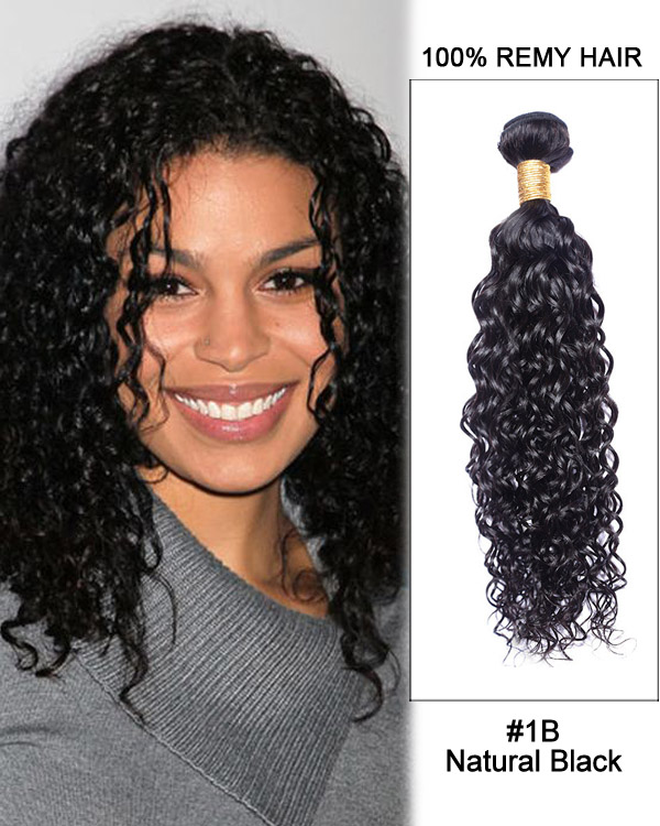 "FESHFEN 16"" #1B Natural Black Curly Wave Weave Brazilian Virgin Hair Human Hair Extensions"