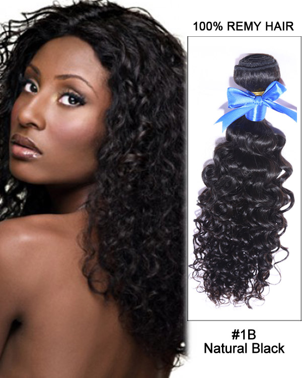 "FESHFEN 14"" #1B Natural Black Curly Wave Weave Brazilian Virgin Hair Human Hair Extensions"
