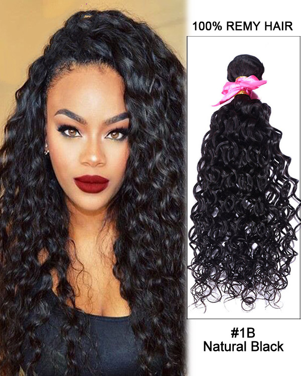 Feshfen 16 1b Natural Black Curly Wave Weave Brazilian Virgin Hair
