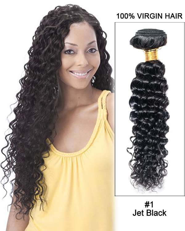 "20"" Jet Black Curly Wave Brazilian Virgin Hair Weave Weft Human Hair Extensions"