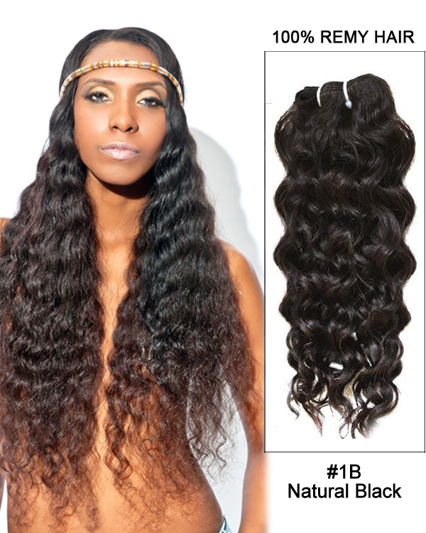 "24"" Natural Black Curly Wave Remy Hair Weave Weft Human Hair Extensions"
