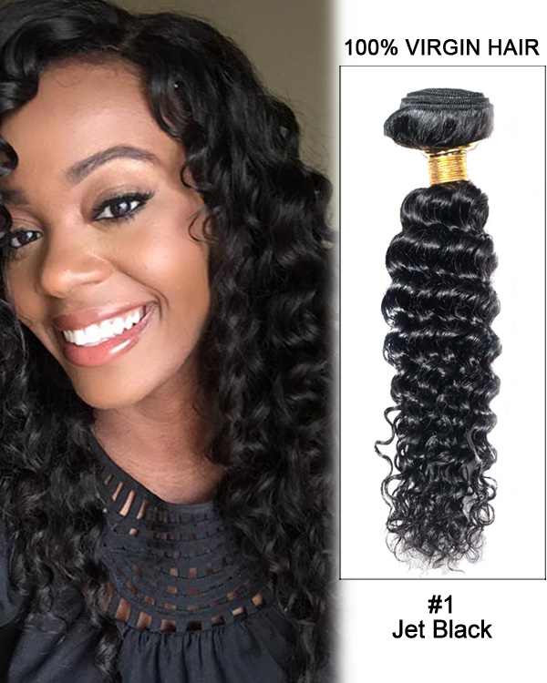 "26"" Curly Wave Virgin Brazilian Hair Weave Weft Human Hair Extensions"