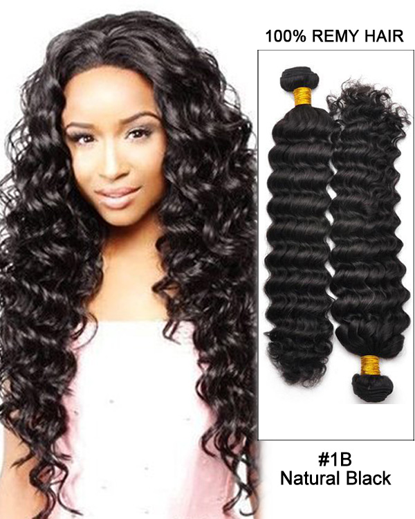 "22"" Natural Black Curly Wave Brazilian Remy Hair Weave Weft Human Hair Extensions"