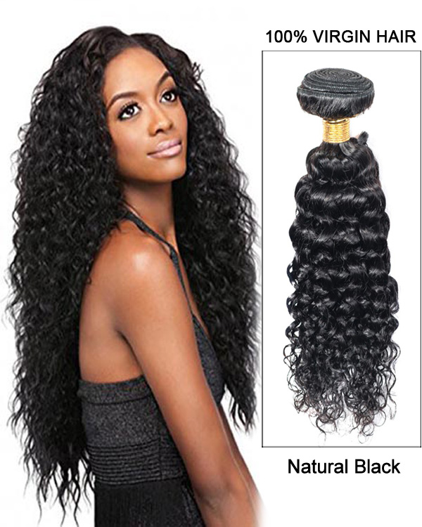 Natural Black Curly Wave 3 Bundles Brazilian Virgin Hair Weave Human
