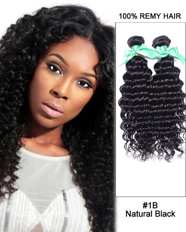 "14"" #1B Natural Black Deep Wave Weave Brazilian Virgin Hair Human Hair Extensions"