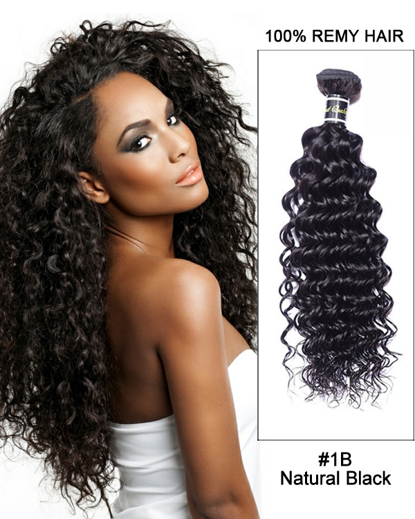 "16"" #1B Natural Black Deep Wave Weave Brazilian Virgin Hair Human Hair Extensions"