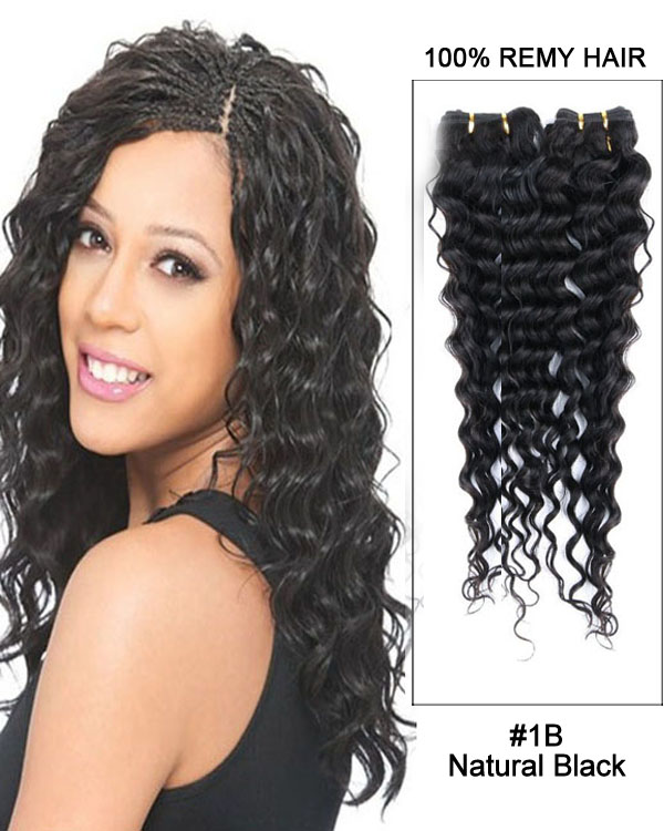 "20"" Natural Black Deep Wave Remy Hair Weave Human Hair Extensions"