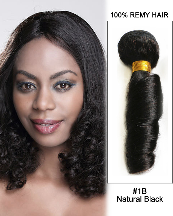 "16"" #1B Black Hair Spring Curly Funmi Curly Wave Hair Bundles Remy Human Hair Extensions"