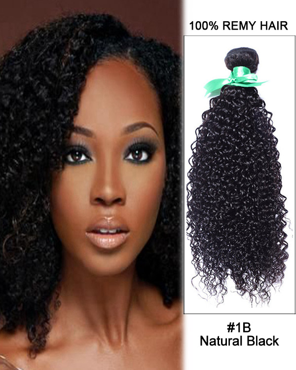 "16"" #1B Natural Black Kinky Curly Weave Brazilian Hair Human Hair Extensions"