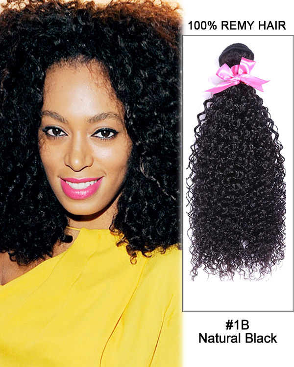 "16"" #1B Natural Black Kinky Curly Weave Malaysian Virgin Hair Human Hair Extensions"