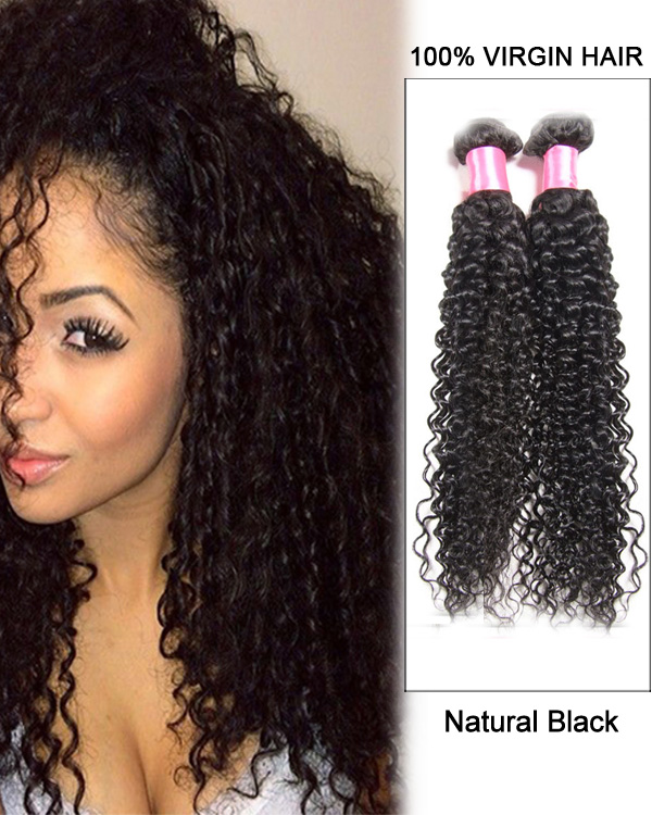 20 Natural Black Kinky Curly Indian Virgin Hair Weave Weft Human