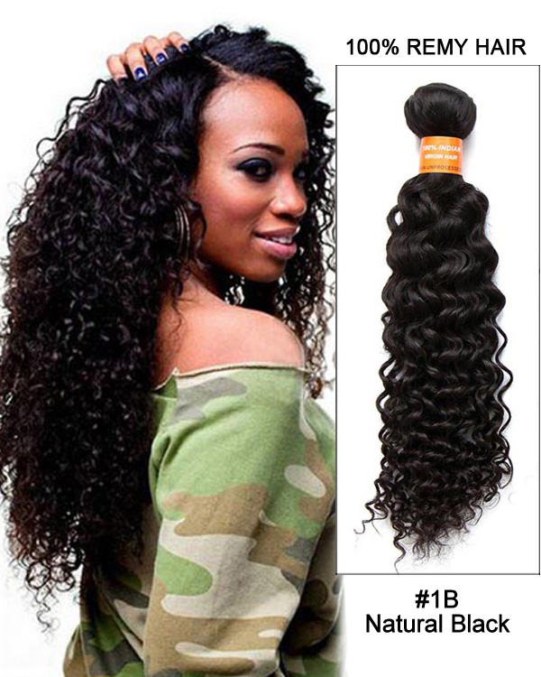 "26"" Natural Black Kinky Curly Virgin Brazilian Hair Weave Weft Human Hair Extensions"