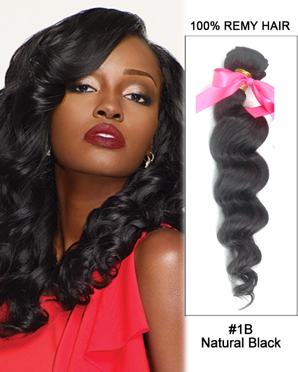 "FESHFEN 14"" #1B Natural Black Loose Wave Weave Malaysian Virgin Hair Human Hair Extensions"